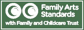 family arts standards white logo